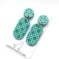 Fresh Green + white Drop Statement Earrings -  oval