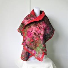 Felted Scarf Wool Silk Nuno Felt Wrap Shawl Red Green Purple
