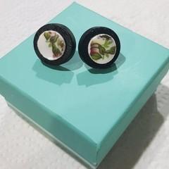 Royal Albert Old Country Roses Broken China Wood Bezel Stud Earrings #094