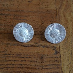 Recycled Silver Daisy Stud Earrings, 2 sizes