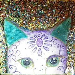 For cat lovers, brooch lapel shawl pin fabric handmade purple /green