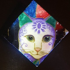 Purple and white cat brooch lapel pin shawl pin fabric handmade
