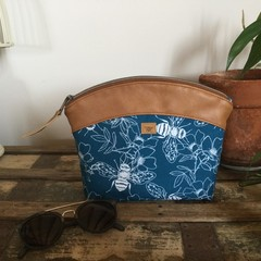 Medium Makeup Purse/Toiletry Bag - Blue Bees/Tan Faux Leather