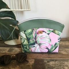 Medium Makeup Purse/Toiletry Bag - Tropical Leaf on Pink/Green Faux Leather