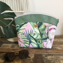 Large Makeup Purse/Toiletry Bag - Tropical Leaf on Pink/Green Faux Leather