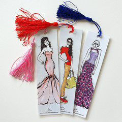 Fashion Girls Watercolour Ink Art Tasseled Bookmarks, Single or sets, Trendy