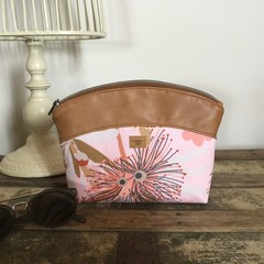 Small Makeup Purse/Toiletry Bag - Pink Gum Blossom/Tan Faux Leather