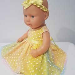Baby Doll Yellow Rainbow Fairy Dress with Headband
