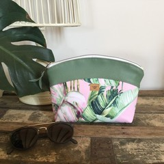 Small Makeup Purse/Toiletry Bag - Tropical Leaf on Pink/Green Faux Leather