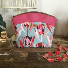 Medium Makeup Purse/Toiletry Bag - Pink Proteas on Blue/Pink Faux Leather