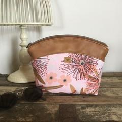 Medium Makeup Purse/Toiletry Bag - Pink Gum Blossom/Tan Faux Leather