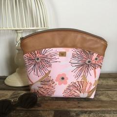 Large Makeup Purse/Toiletry Bag - Pink Gum Blossom/Tan Faux Leather