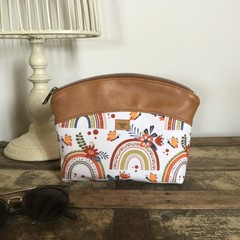 Small Makeup Purse/Toiletry Bag - Rainbows/Tan Faux Leather