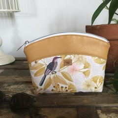 Small Makeup Purse/Toiletry Bag - Yellow Gum/Mustard Faux Leather