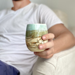 Ceramic Mug , Coffee Cup , Pottery Tea Cup,  Landscape Motif, Unique Pottery Art