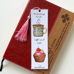 Coffee & Pink Cupcake art Tassel Bookmark, Morning Tea