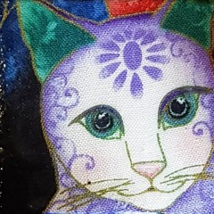 Handmade Fabric brooch lapel shawl  pin cat jewelry in purple and white