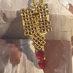 Gold charms and red crystals recycled Key Pendant Necklace. Gold snake chain.