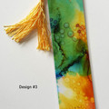 Alcohol Ink Abstract Art Tasseled Bookmarks, Single or sets, Mermaid Tales