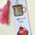 Coffee & Pink Cupcake art Tassel Bookmark, Morning Tea