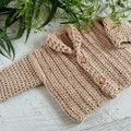 Beige Chunky Hand Crocheted Baby Cardigan 0-3 months