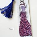 Fashion Girls Watercolour Ink Art Tasseled Bookmarks, Single or sets, Trendy