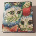 Brooch, shawl pin or lapel pin. Lacquered Fabric handmade. Two cats white/blue