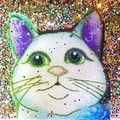 Cat Brooch, lapel pin for jacket or shawl or scarf gold glitter