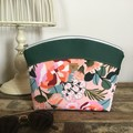 Medium Makeup Purse/Toiletry Bag - Peach floral/Dk Green Faux Leather