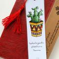 Watercolour & Ink Geometric Potted Cactus Art Tasseled Bookmark