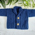 Navy Blue Chunky Hand Crocheted Baby Cardigan 0-3 months