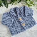 Denim Blue Chunky Hand Crocheted Baby Cardigan 0-3 months