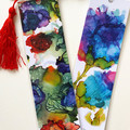 Alcohol Ink & Doodle Abstract Art Tasseled Bookmarks, Single or set