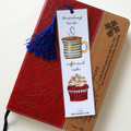 Red Velvet Cupcake & Coffee art Tassel Bookmark, Morning Tea