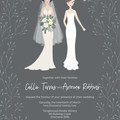 Personalised wedding invitation design - custom portrait of couple