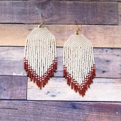 Mid length handmade beaded earrings