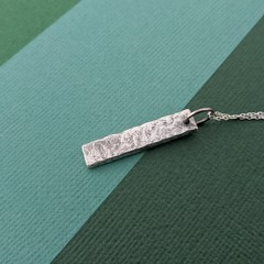 Textured Bar Necklace - Sterling Silver