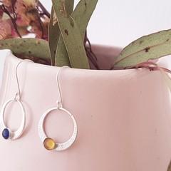 Gemstone or Plain Drop Earrings - Carnelian, Rose Quartz, Howlite, Amethyst