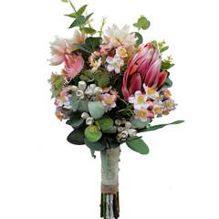 Australian Native Flowers Bridal Bouquet - Artificial Pink Protea, Gum Nuts