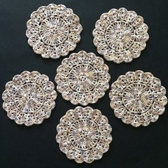 Six Hand Crocheted Coasters in 'Natural Mix' Egyptian Cotton