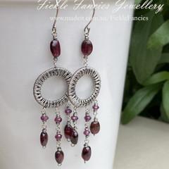 OOAK Silver Chandelier Garnet and Woven Wire Earrings