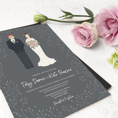 Personalised wedding invitation design - custom portrait of couple