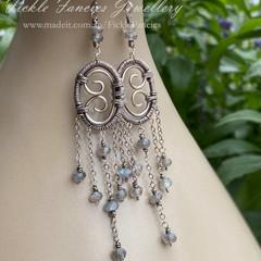 OOAK Silver Chandelier Labradorite and Woven Wire Earrings