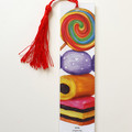 Sweets Illustration Art Tasseled Bookmark, Licorice Allsorts, Lollypops