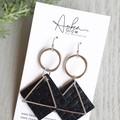 """Geo"" Genuine Leather Earrings, Silver/ Black Basket Weave"
