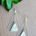 Trapeze Triangle, Genuine Leather Earrings, Silver Snakeskin