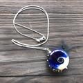 Handmade Glass Lampwork Ocean Lentil Bead Sterling Silver Necklace OOAK
