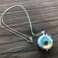 Handmade Glass Lampwork Ocean Coin Bead Sterling Silver Necklace OOAK