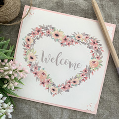 Greeting Card Floral Heart Wreath Pink - Welcome Newborn Baby
