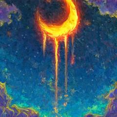 Bleeding heart of the moon Original Digital Art Print Signed
